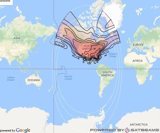 Directv 15 at 103° W downlink Ku-band CONUS beam coverage map