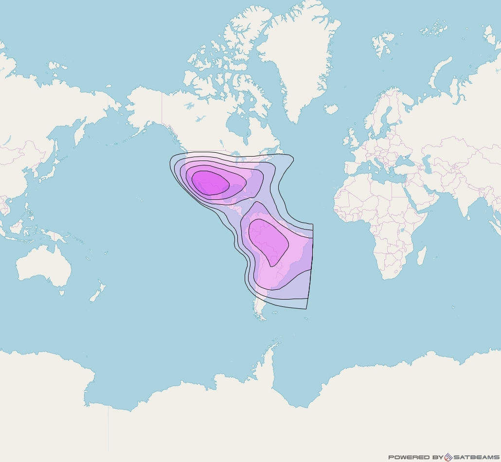Eutelsat 113 West A at 113° W downlink C-band Continental Beam coverage map