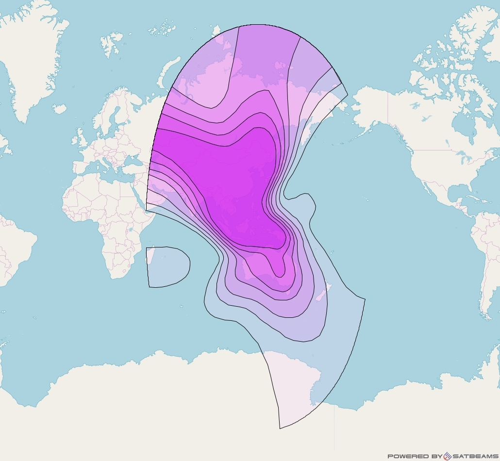 ChinaSat 6A at 125° E downlink C-band Wide beam coverage map