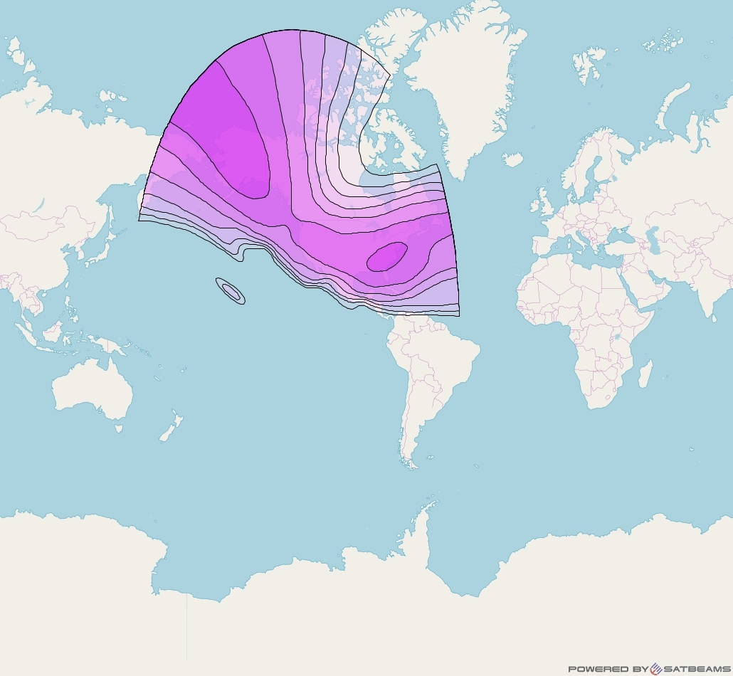 Horizons 1 at 127° W downlink C-band North America Beam coverage map