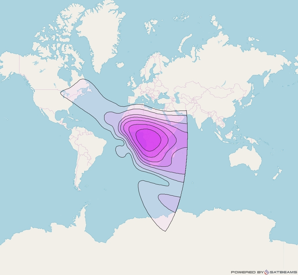 Intelsat 37e at 18° W downlink C-band Central Africa beam coverage map
