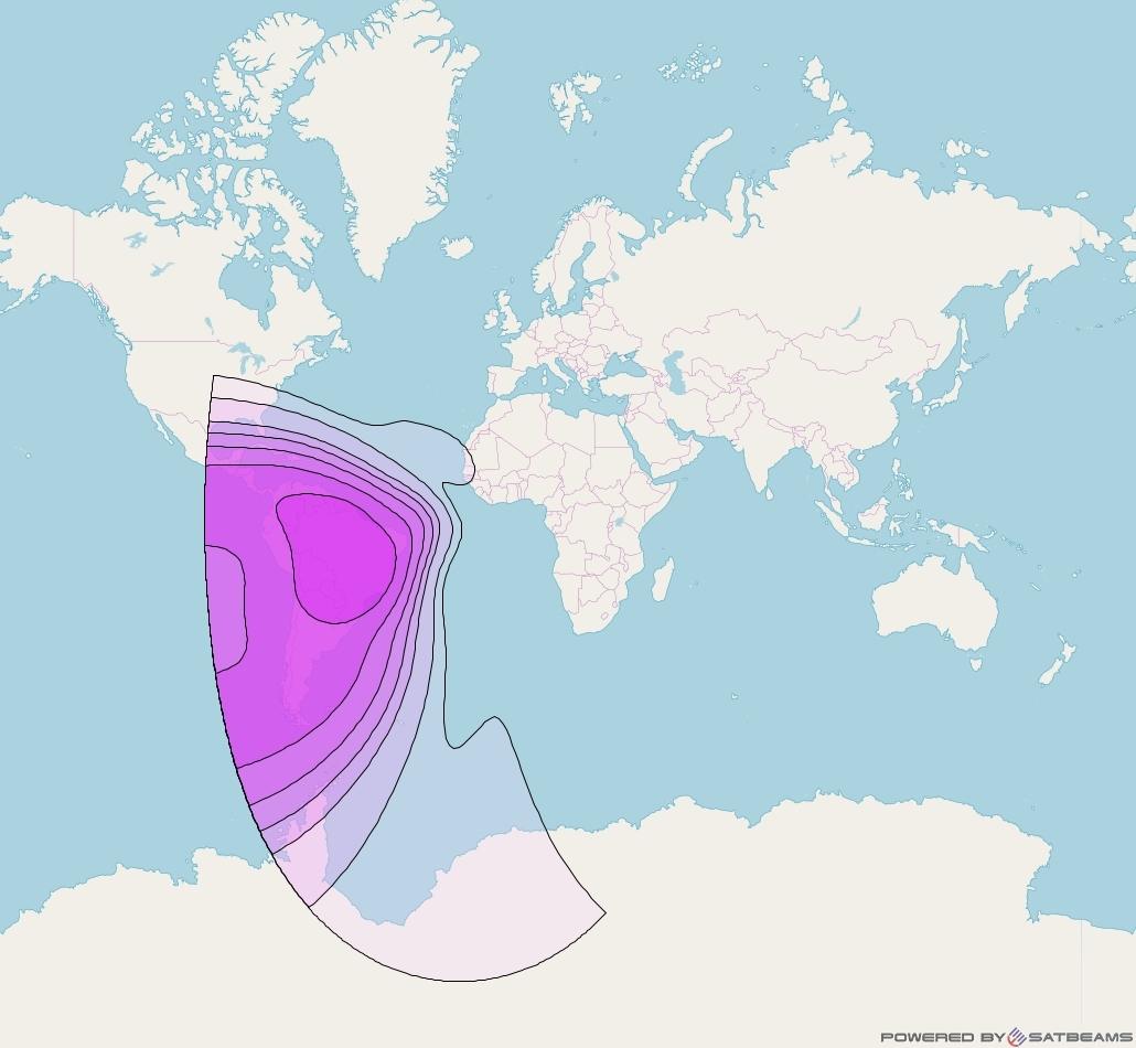 Intelsat 37e at 18° W downlink C-band Latin America beam coverage map