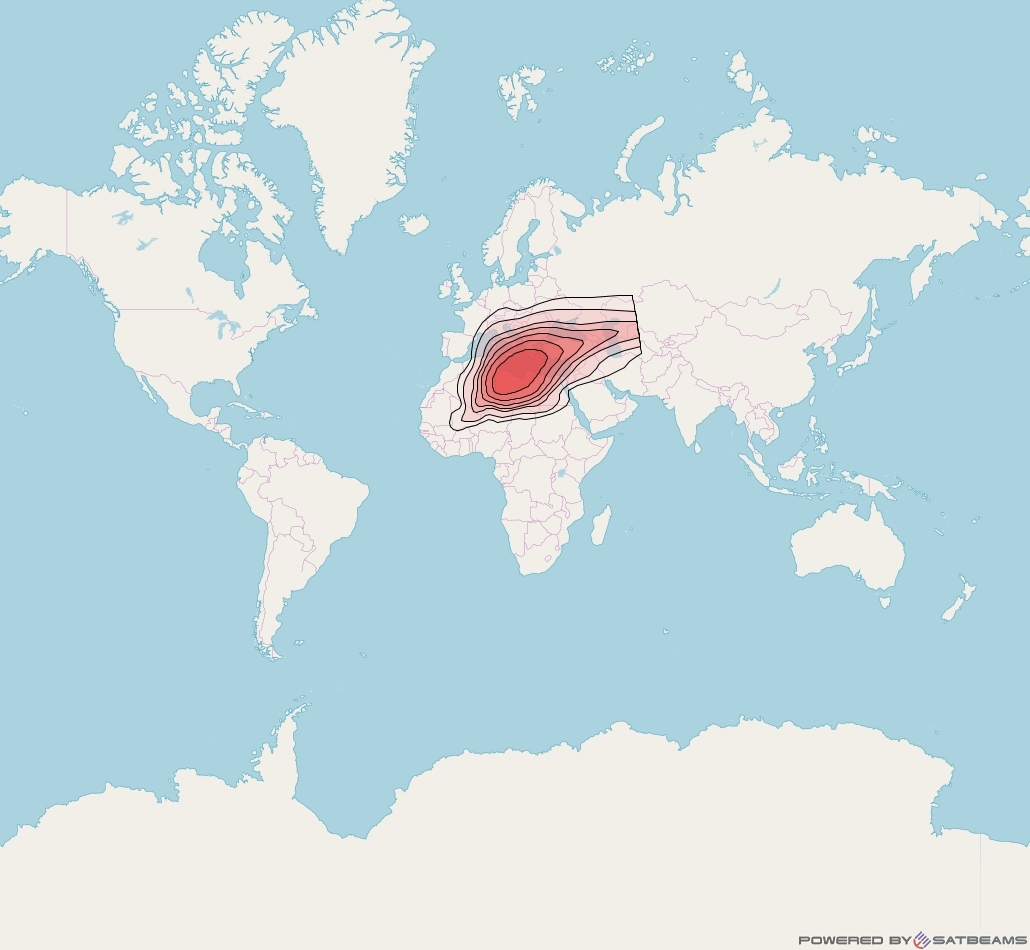 Intelsat 37e at 18° W downlink Ku-band Spot09 User beam coverage map