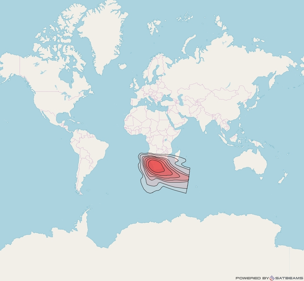Intelsat 37e at 18° W downlink Ku-band Spot34 User beam coverage map