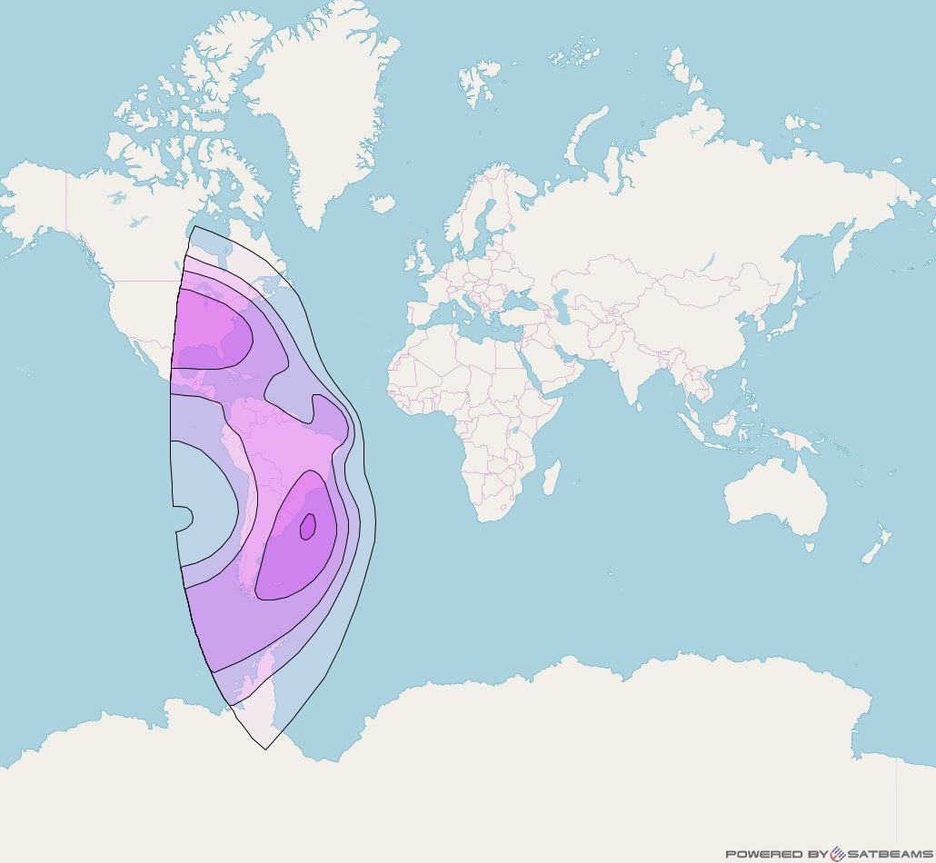 NSS 7 at 20° W downlink C-band West Hemi Beam coverage map