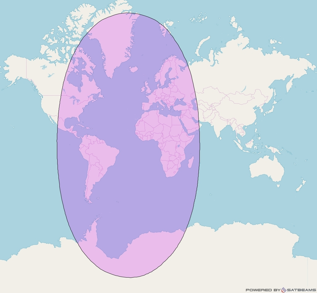 Intelsat 905 at 24° W downlink C-band Global Beam coverage map
