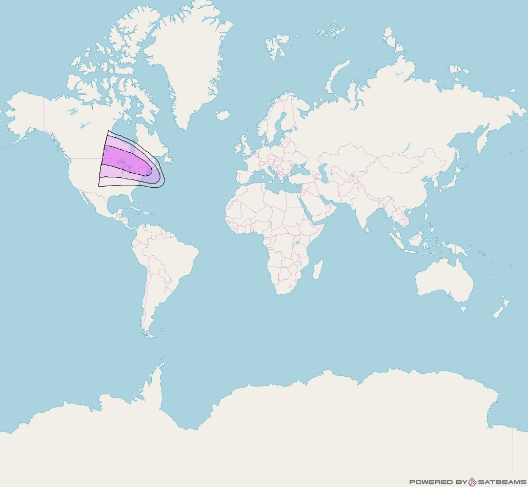 Intelsat 905 at 24° W downlink C-band North West Zone Beam coverage map