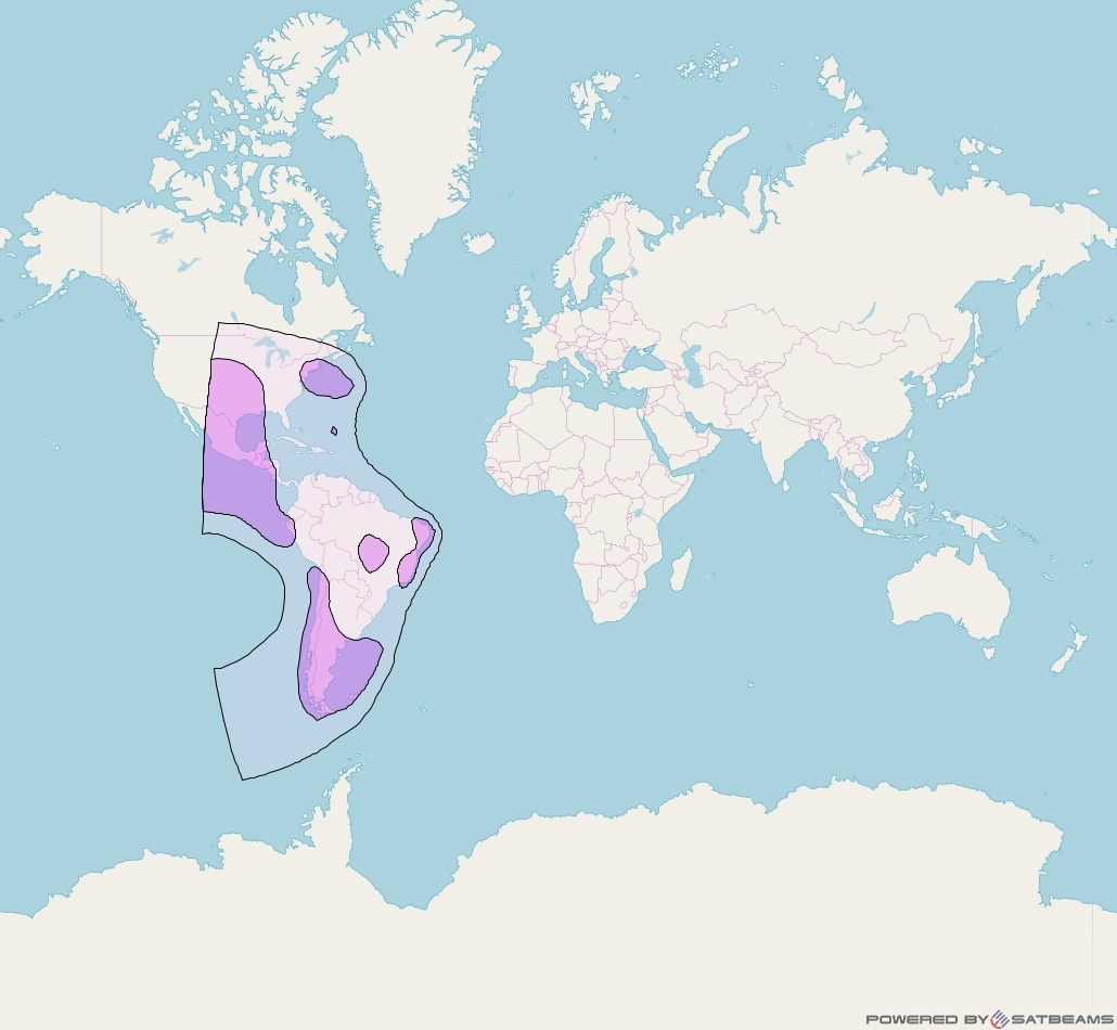 Intelsat 907 at 27° W downlink C-band West Hemi Beam coverage map