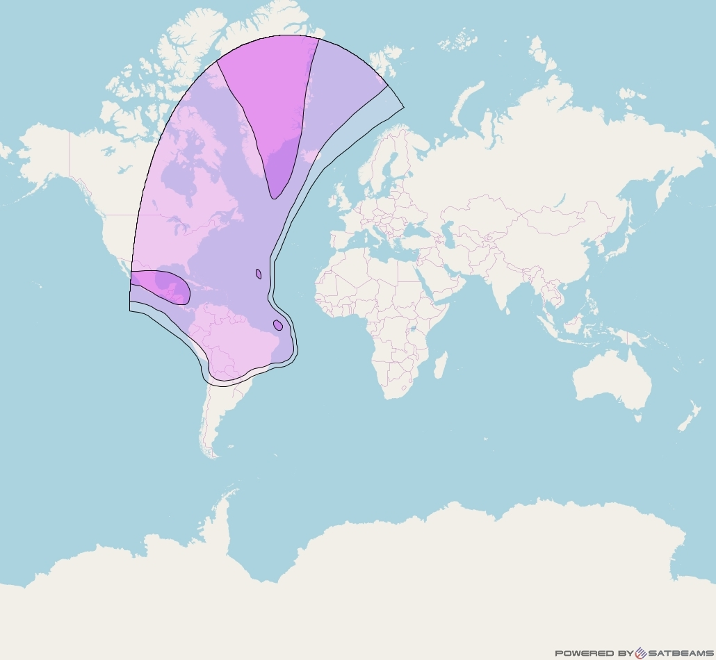 Intelsat 904 at 29° W downlink C-band West Hemi beam coverage map