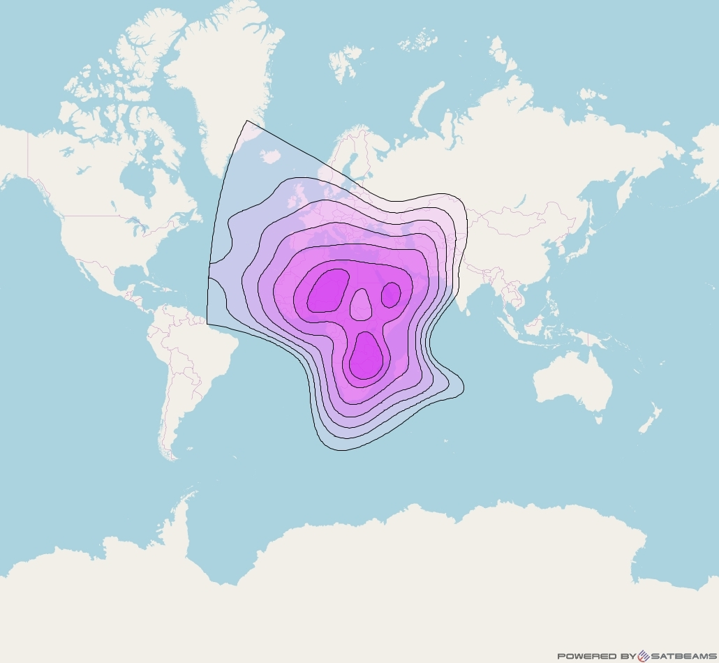 Arabsat 5A at 31° E downlink C-band Appendix 30B beam coverage map