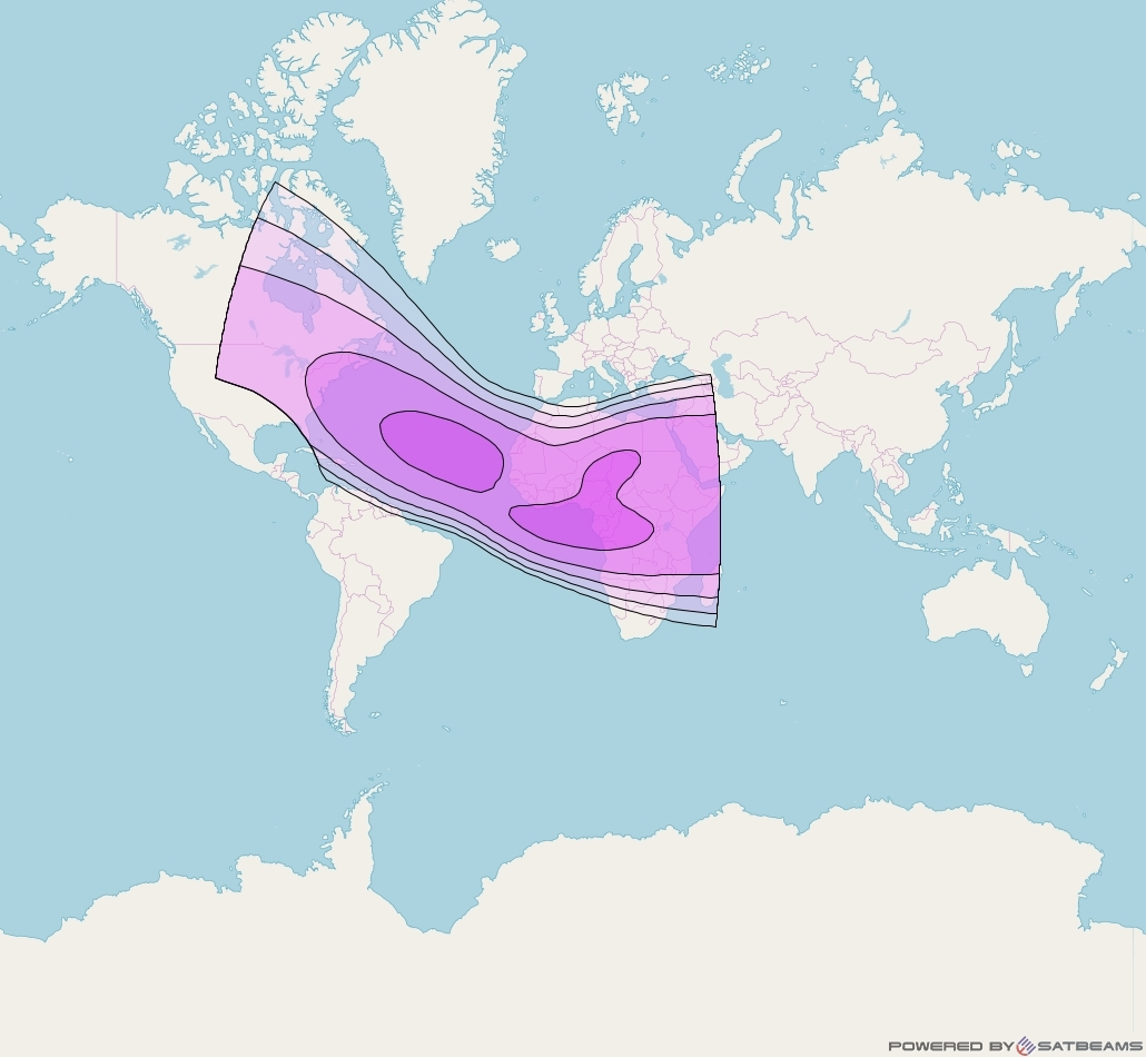 Intelsat 25 at 32° W downlink C-band Africa beam coverage map