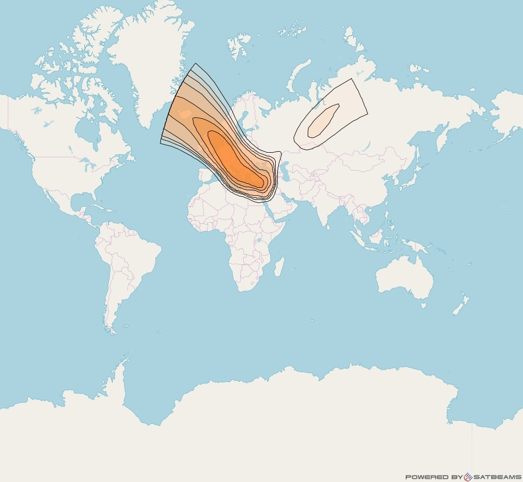 HellasSat 3 at 39° E downlink Ka-band Europe beam coverage map