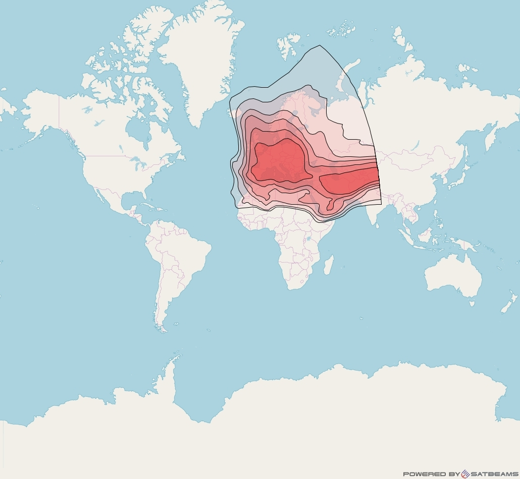 Eutelsat 3B at 3° E downlink Ku-band Europe beam coverage map