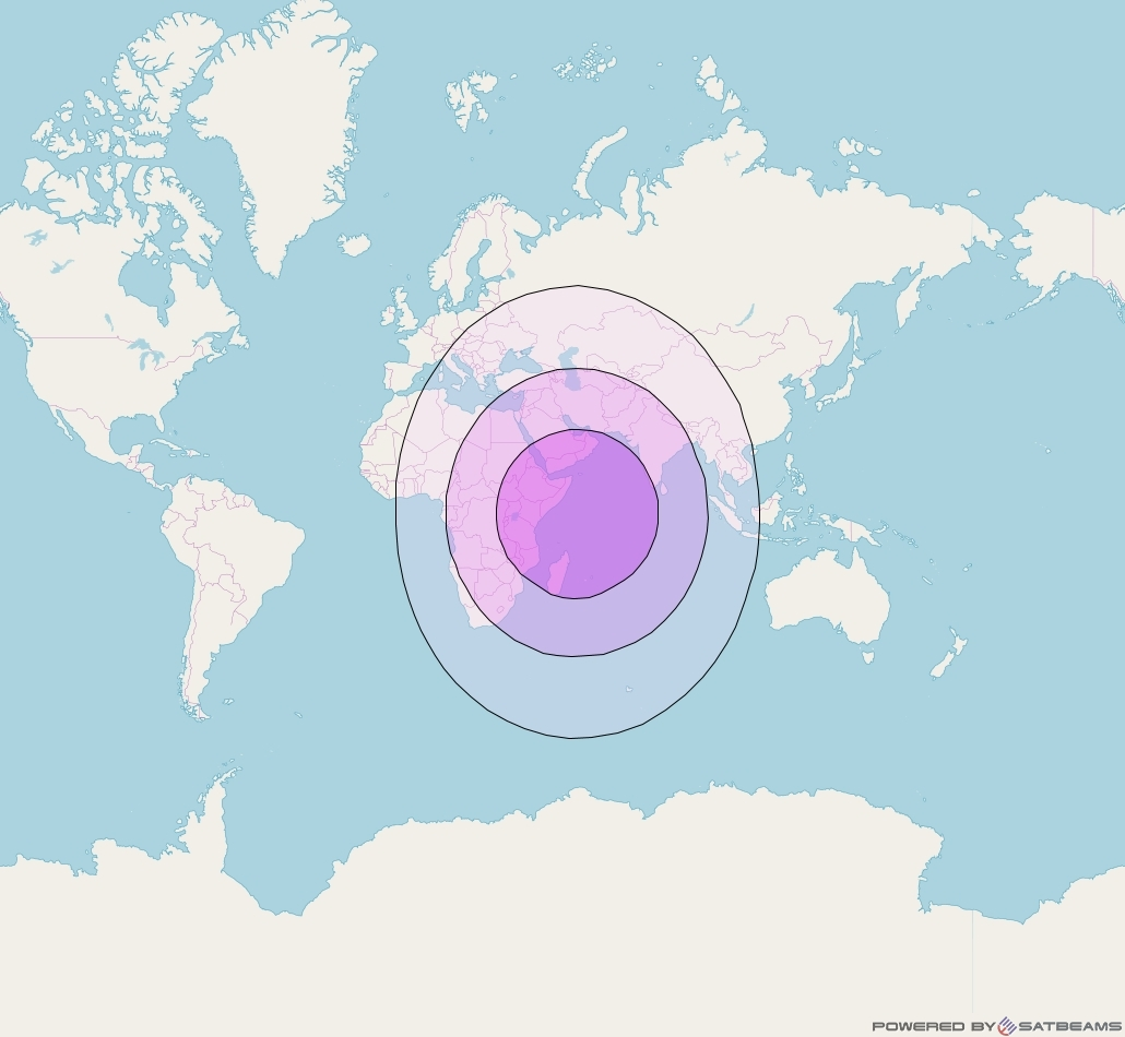 Express AM6 at 53° E downlink C-band Global beam coverage map
