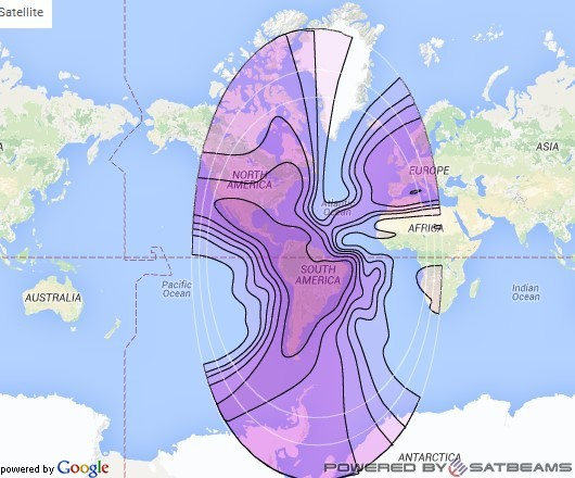 Intelsat 27 at 55° W downlink C-band Americas/Europe Beam coverage map