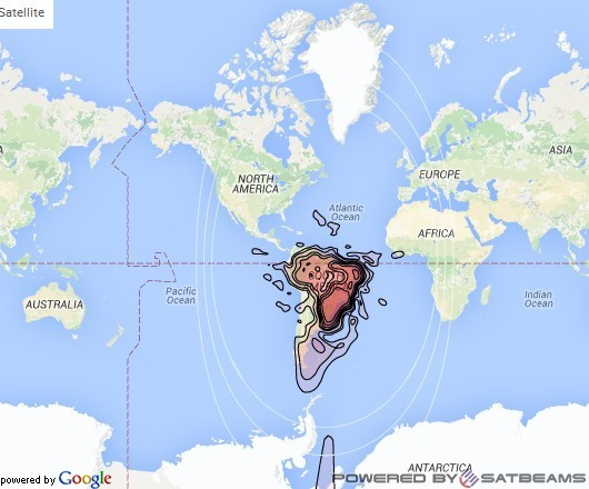 Intelsat 27 at 55° W downlink Ku-band Brazil beam coverage map