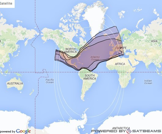 Intelsat 27 at 55° W downlink Ku-band North Atlantic beam coverage map