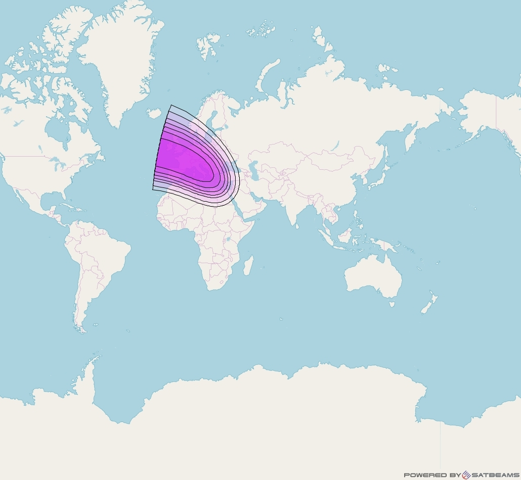 Intelsat 33e at 60° E downlink C-band Spot4 User beam coverage map