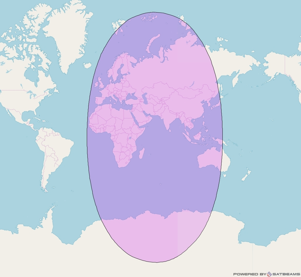 Intelsat 902 at 62° E downlink C-band Global Beam coverage map