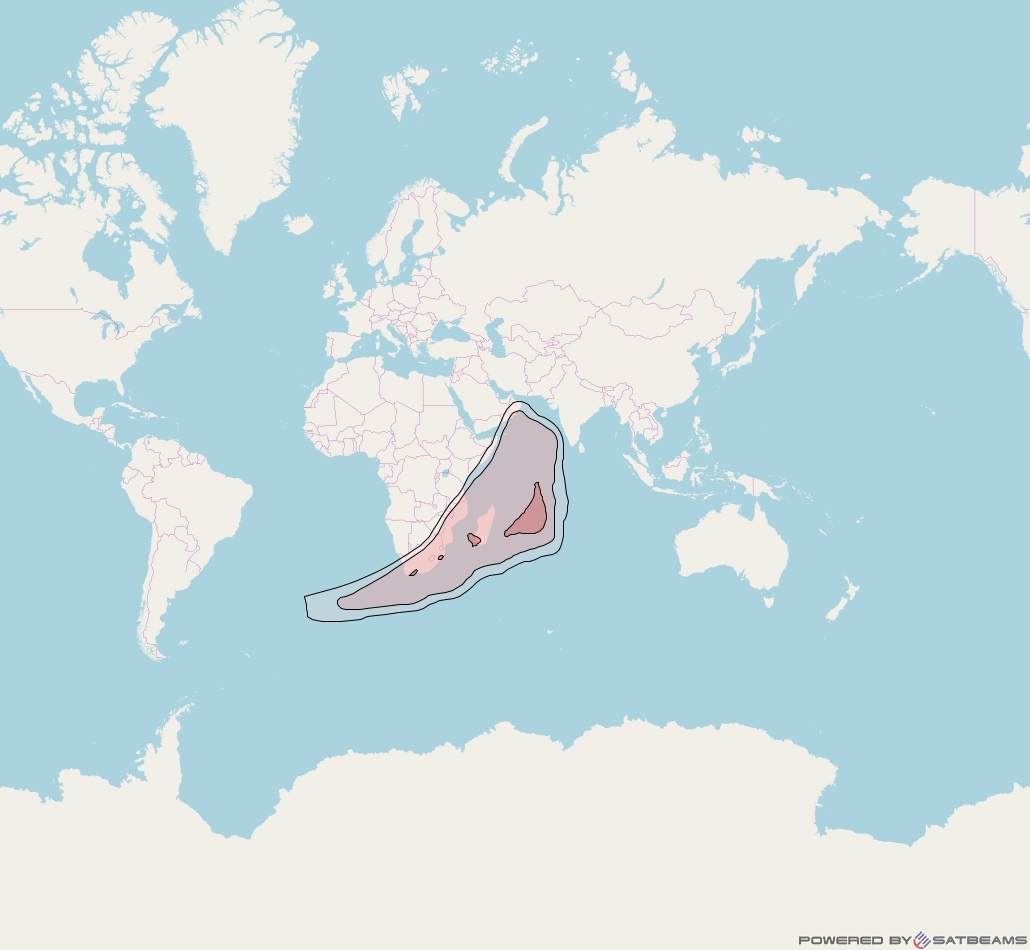 Intelsat 39 at 62° E downlink Ku-band West Indian Ocean beam coverage map