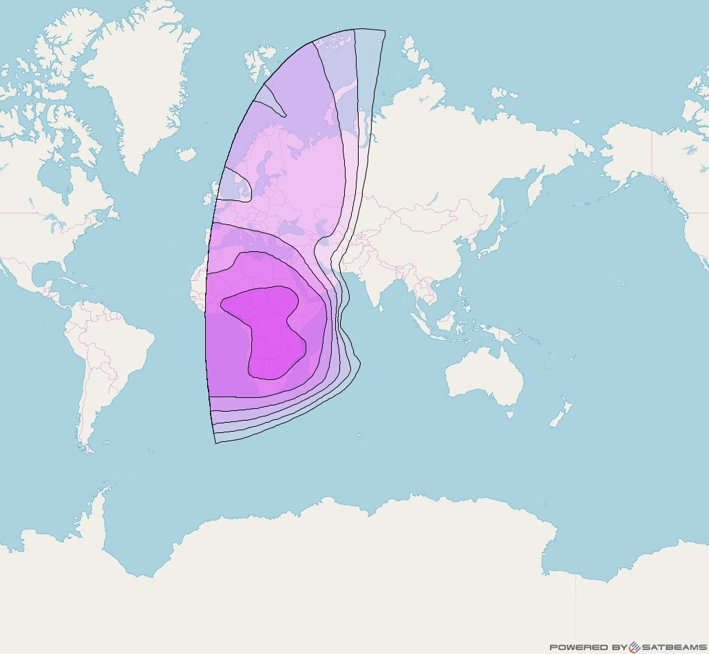 Intelsat 22 at 72° E downlink C-band West Hemi beam coverage map