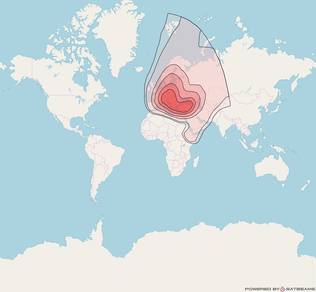 Eutelsat 7A at 7° E downlink Ku-band Europe B Beam coverage map