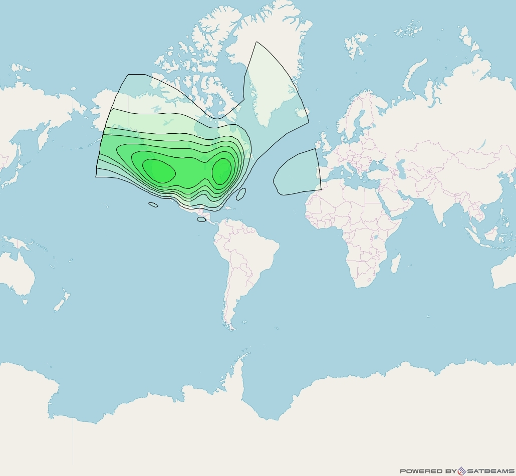 XM 5 at 85° W downlink S-band CONUS (XM2T) beam coverage map