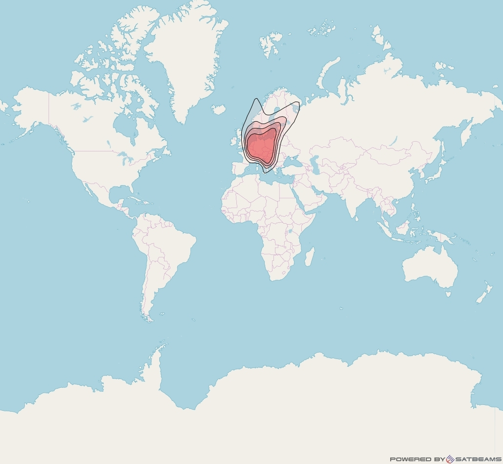 Eutelsat 9B at 9° E downlink Ku-band Germany GE beam coverage map